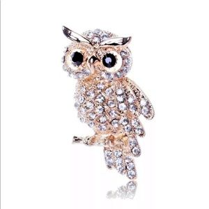Vintage Inspired Rhinestone Owl Broach Brooch